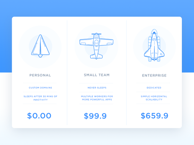Pricing - Day 030 #dailyui ux ui illustration shuttle plane table price pricing dailyui