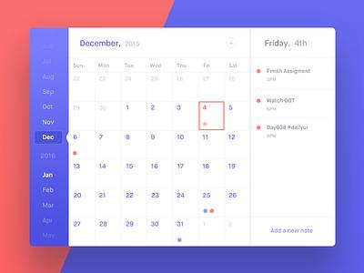 Calendar - Day 038 #dailyui note agenda tasks list todo widget calendar dailyui
