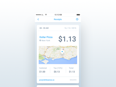 Receipt - Day 046 #dailyui finance location map ux ui app mobile purchase square check receipt dailyui