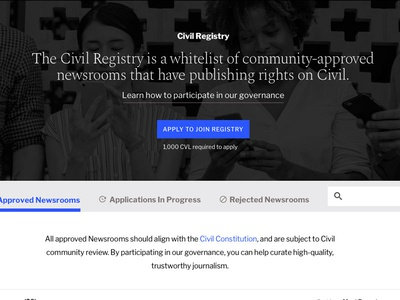 Civil Registry civil governance news journalism blockchain tcr