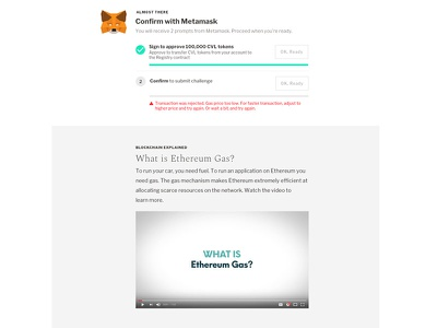 Confirm with MetaMask microinteractions blockchain transactions civil