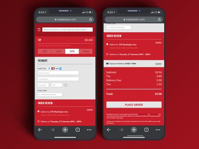 Trader Joe's Online Store Check Out Flow delivery mobile mobilesite mobiledesign ecommerce onlineshopping dailyuichallenge traderjoes checkoutflow orderflow dailyui002 dailyui