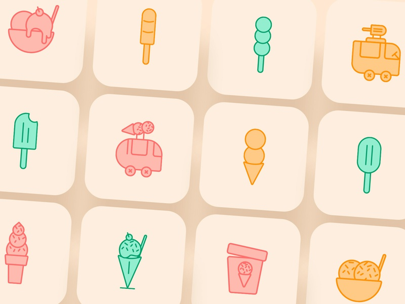 Ice Cream Icons simple icons food illustration ice cream cone ice cream cute icons cute icon iconography iconset icons icon ux ui dailyui user interface design app design appicondesign design vector logo illustration