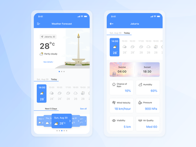 Weather Forecast Mobile Application mobile app design mobile design mobile app design white blue and white blue ios app design weatherforecast ios app weather forecast ios application app design ux ui uiuxdesign uiux mobile