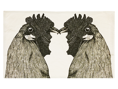 Chickens Lovers - Tea Towel hand drawn linen cotton fabric print tea towel