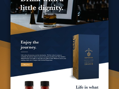 CE UI  brand barware whisky class blue gold typography layout design web ui ux
