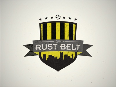 The Rust Belt Supporter Group supporter group logo soccer texture grunge yellow black rust stars sport cityscape ribbon
