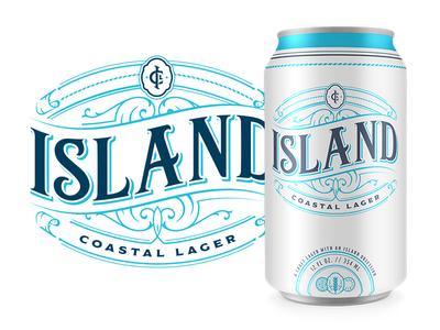 ICL monogram cigar palette coastal island lager typography floral design can beer