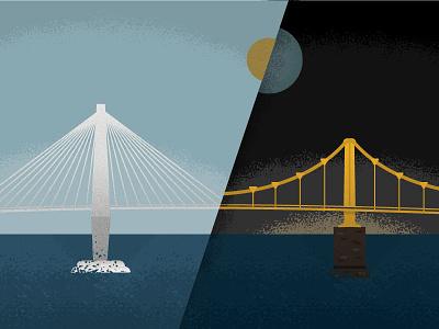 CHS to PGH steel city. holy city. cooper river sun moon charleston pittsburgh texture illustration bridge