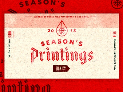 Season's Printings | PGH | 2 date logo screenprint squeegee print snowflake black letter poster aiga event christmas holiday