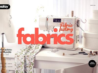 Fabric Factory v.6 Mockup Bundle apparel mockup apparel factory fabric mockup typography ux vector 3d ui logo illustration graphic design design branding