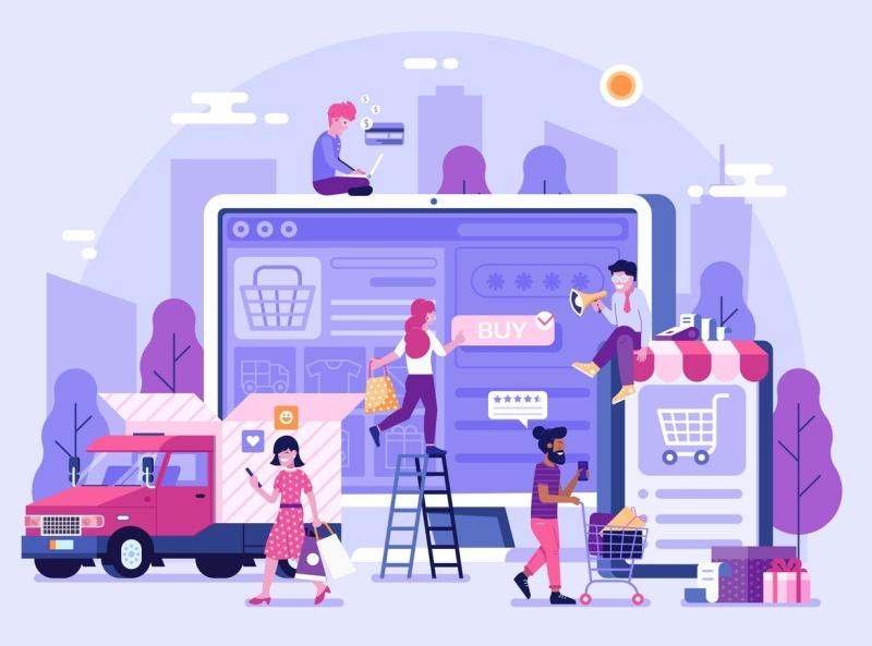 Online Shopping Landing Page landing page web development web design 3d illustration illustrations online shopping typography ux vector ui 3d logo illustration graphic design design branding