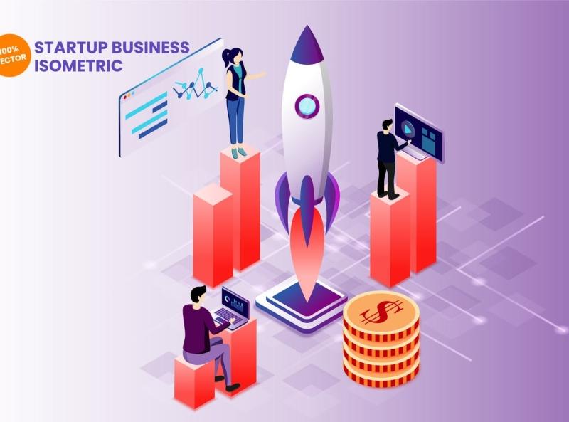Startup Business Vector Illustration startup isometric business typography ux ui vector logo 3d illustration graphic design design branding