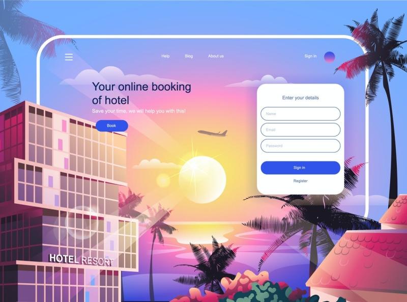 Hotel Booking Landing Page website web design online landing page booking hotel typography ux vector ui 3d logo illustration graphic design design branding