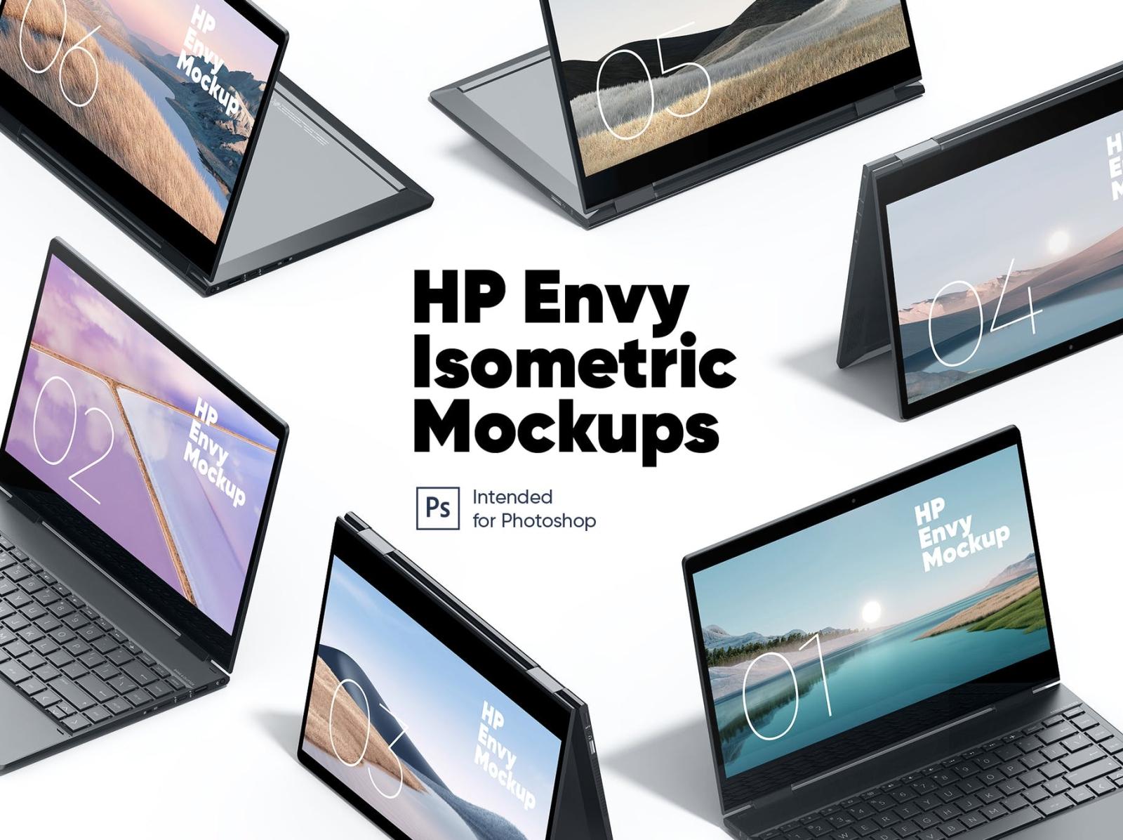 HP Envy Isometric Mockup laptop mockup laptop mockup screen mockup hp envy typography ux vector ui logo 3d illustration graphic design design branding