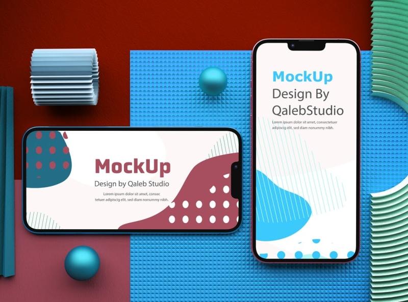 iPhone 13 Top View Mockup mockup iphone 13 typography ux vector ui 3d logo illustration graphic design design branding