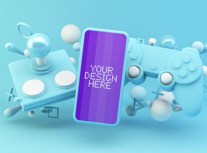 iPhone Pixel Mockup phone mockup video game blue pixel iphone typography ux vector ui 3d logo illustration graphic design design branding