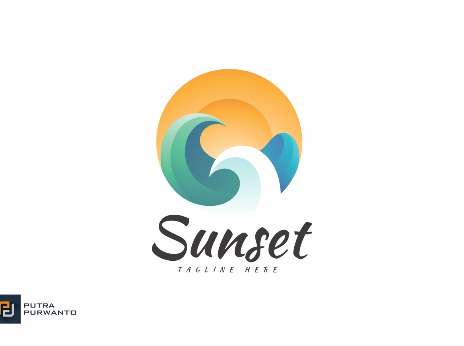 Sunset Logo Template logo design mockup template sunset typography ux vector ui 3d logo illustration graphic design design branding