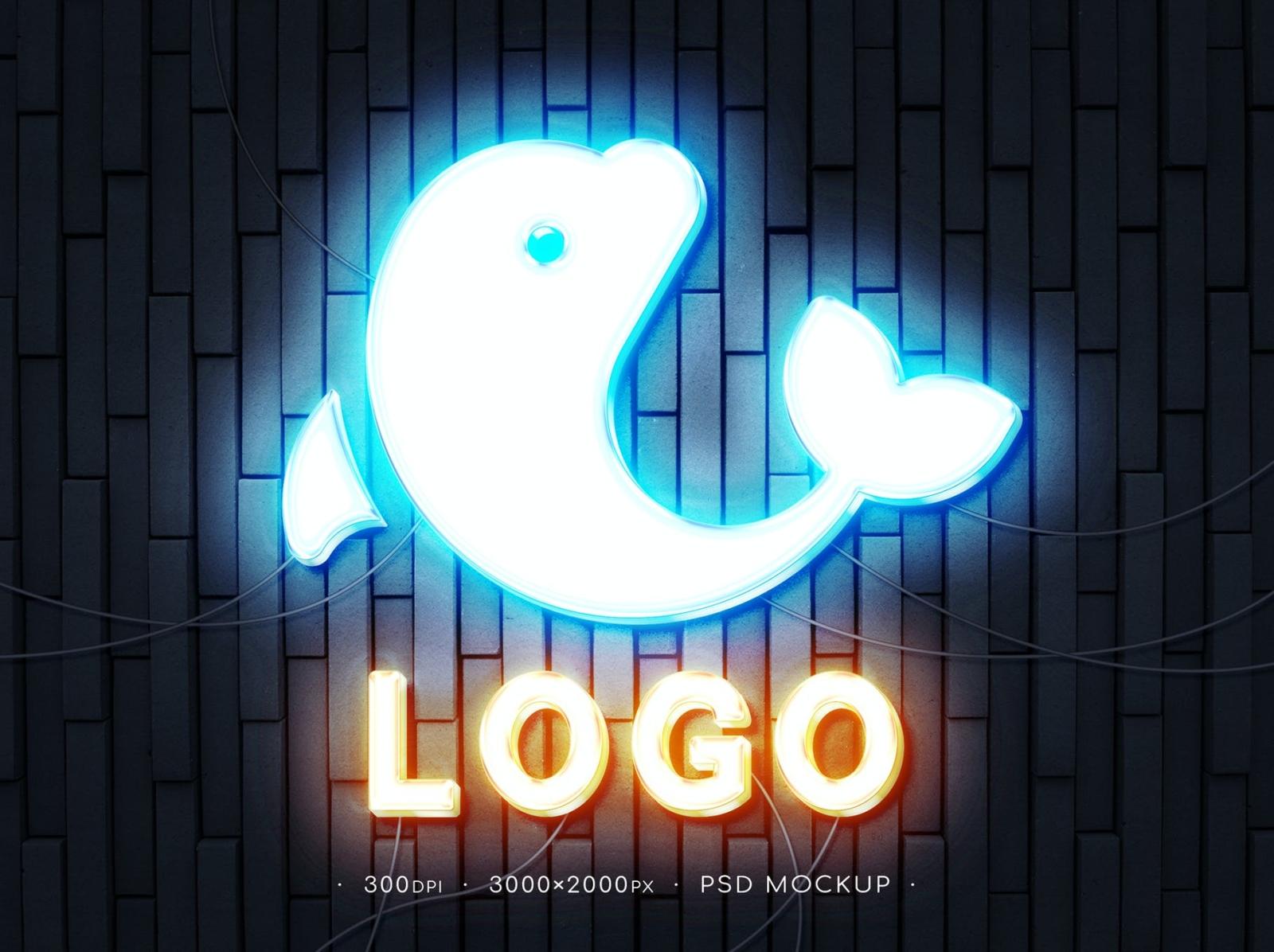Neon Logo Mockup logo design neon logo mockup neon typography ux vector ui 3d logo illustration graphic design design branding