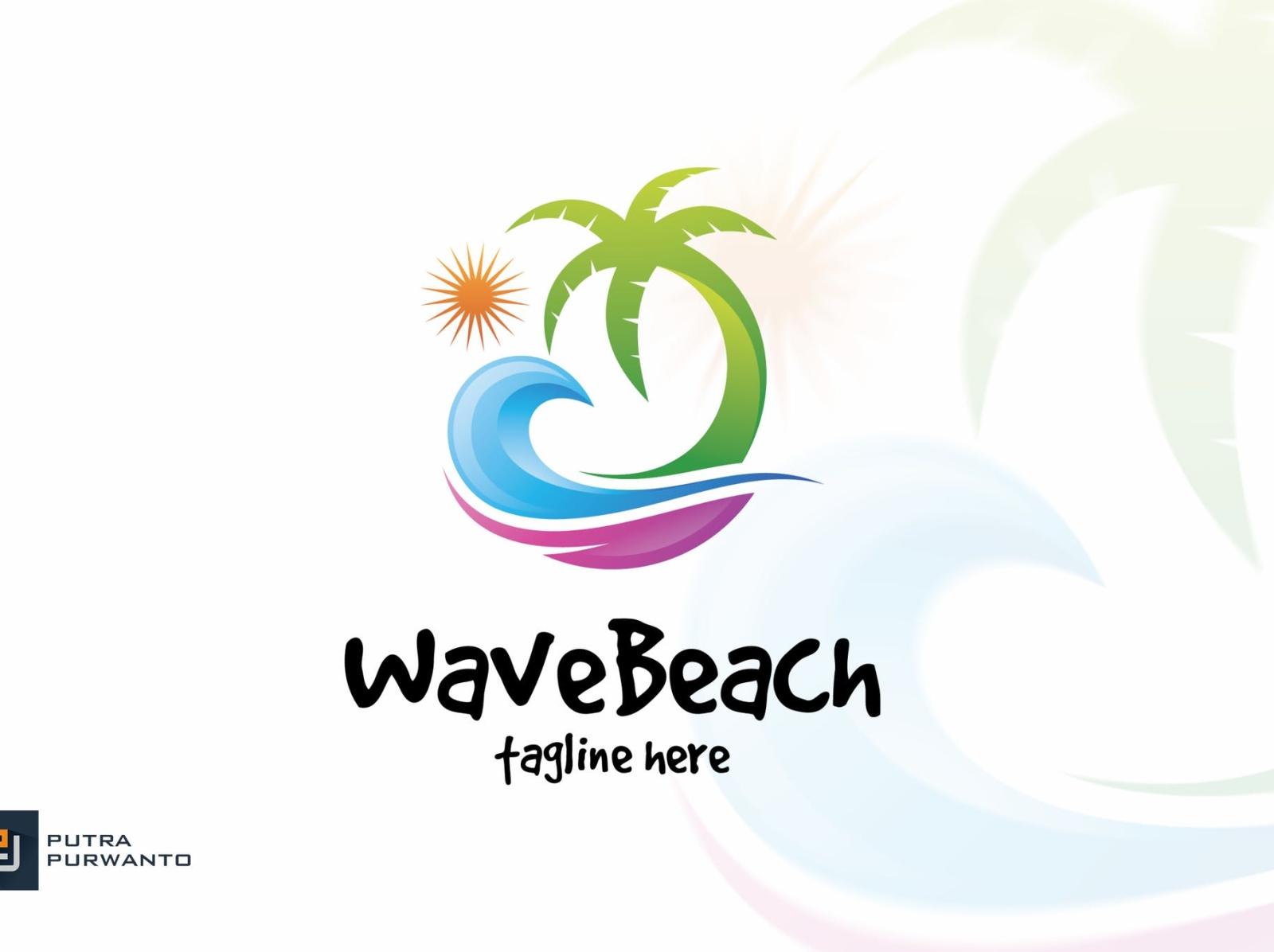 Wave Beach Logo Template logo mockup logo design mockup beach wave typography ux vector ui 3d logo illustration graphic design design branding