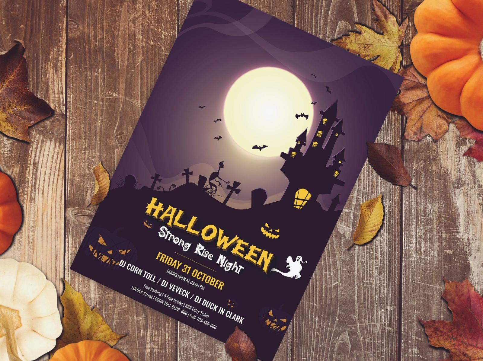 Halloween Party Flyer night pumpkin spooky brochure flyer party halloween typography ux vector ui 3d logo illustration graphic design design branding