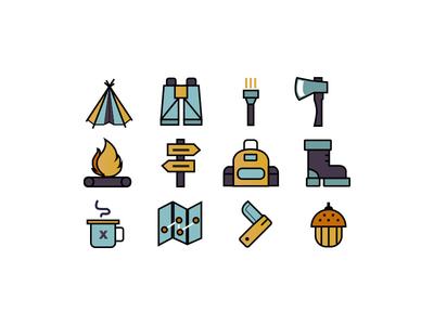 Icon camping graphic design design art adobe illustrator vector camping icon