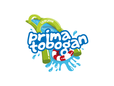 Prima tobogan logo splash typography logotype logo slovenija slovenia ljubljana city slip party slide water