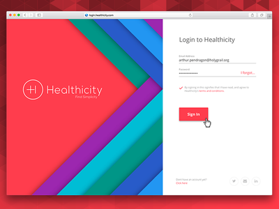 Healthicity Login ux product design material design login