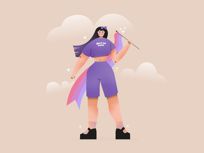 Dare to care purple lgbtq bisexual illustrator character creation flat vector design branding character color block illustration