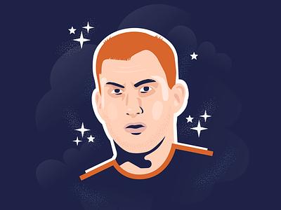 Dejan Kulusevski stars portrait serie a kulusevski dejan parma juventus sweden football soccer design character vector flat illustration color block