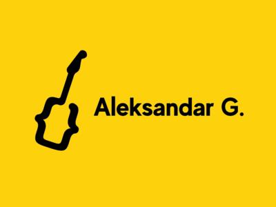 Webdesign & Guitar Logo brackets code guitar typography logo tech design technology flat color block vector branding