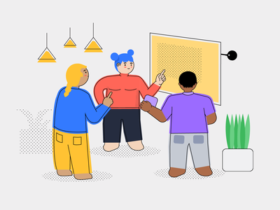 """Illustration for """"Make Your Business Meeting More Efficient"""" colorblock business meetings network characters airtame tech design character creation character technology flat vector color block illustration branding"""