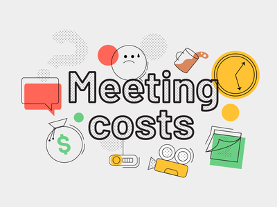 """An illustration for """"The real costs of meetings"""" budget costs meetings b2b airtame tech design flat technology color block vector illustration branding"""