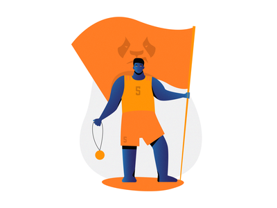 An illustration of Ameng owl hunters chengdu ameng overwatch league overwatch colorblock characters design character creation character color block vector illustration branding