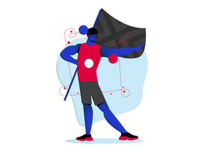An illustration of Jjonak from the NYXL nyxl new york excelsior jjonak owl overwatch league overwatch colorblock design characters character creation character flat color block vector illustration branding