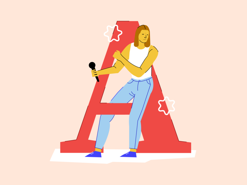 A is for Alex Cameron singer music fanart alex cameron a 36days-a 36daysoftype 36days colorblock characters design character flat color block vector illustration branding