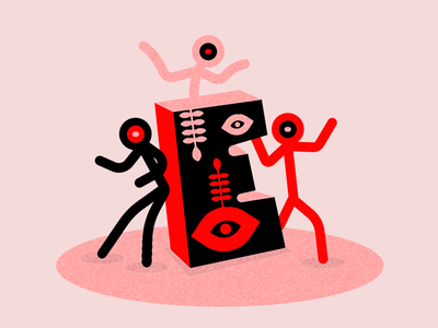 E for Eerie/eyes graphic  design design typography art typography e eyes red and pink 36daysoftype-04 36daysoftype 36days-e character flat color block vector illustration