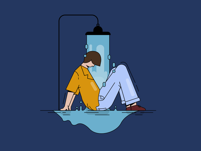 M for Markus Krunegård 36days-m 36daysoftype shower character creation design character flat color block vector illustration