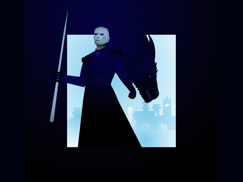 N for nightking icedragon winterishere winteriscoming got blue character creation design character flat gradients vector 36days-n 36daysoftype night-king thenightking nightking gameofthrones color block illustration