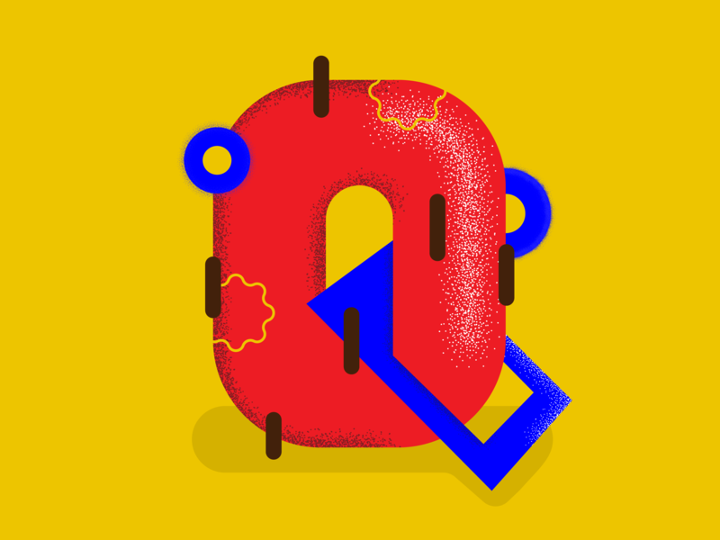 Q - 36 days of type design contrast illustrator texture 36days-q typography 36daysoftype textures color block vector illustration