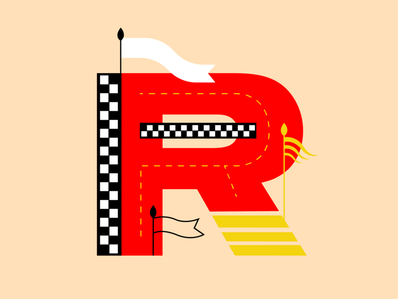 A Racing R flags car racing 36days-r 36daysoftype typography design flat color block vector illustration