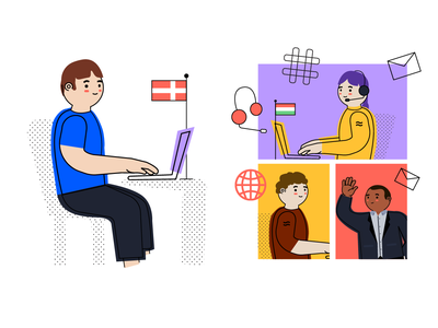 """""""Remote work"""" for Airtame blog colorblock airtame tech characters character creation technology design character branding flat color block vector illustration"""