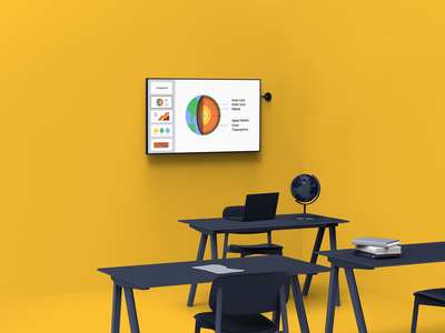 Classroom Scenario for Airtame visual development marketing airtame tech design branding flat color block 3d art 3d