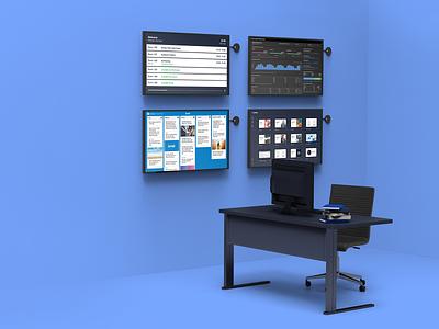 IT room scenario for Airtame marketing brand design brand development tech 3d art 3d design technology branding color block