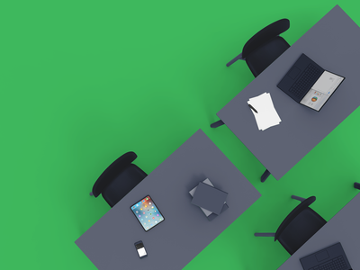 Student perspective scenario for Airtame brand development minimalistic clean flat visual development 3d art 3d tech technology design branding color block