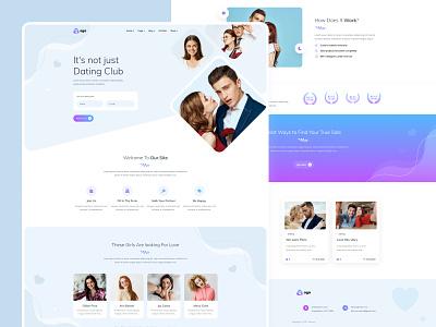 Aga - Dating Club blue web design site top 2021 ux vector logo ui illustration theme style modern design design businees site branding