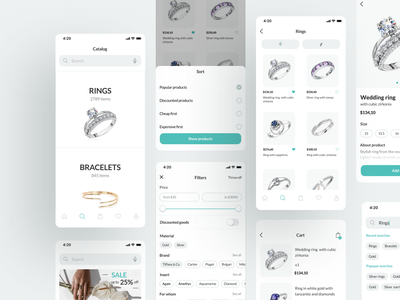 Mobile app  -  Jewelry shot ux ios app user interface typography jewerly mobile design mobile app ecommerce dribbble