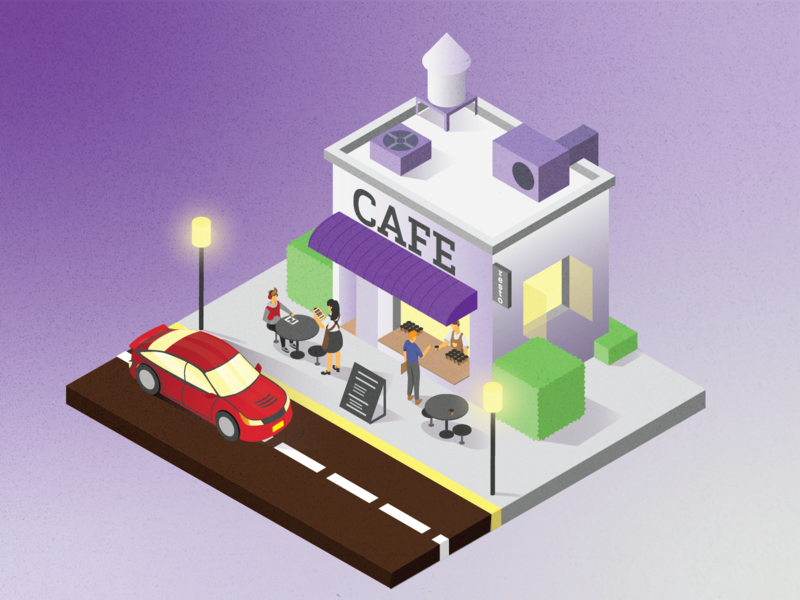 cafetarian isometric isometric design isometric illustration isometric art cafe coffee hellodribbble flat illustration illustration flat design design