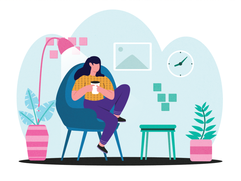 coffee at home relax stayhome coffee flat illustration illustration hellodribbble design flat design