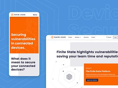 Finite State Website branding typography webdesign ux ui block startup marketing startup branding blue orange simple design highlight radar product design product page technology responsive website